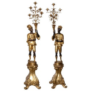 Black-A-Moors Gilded Candelabras - a Pair For Sale