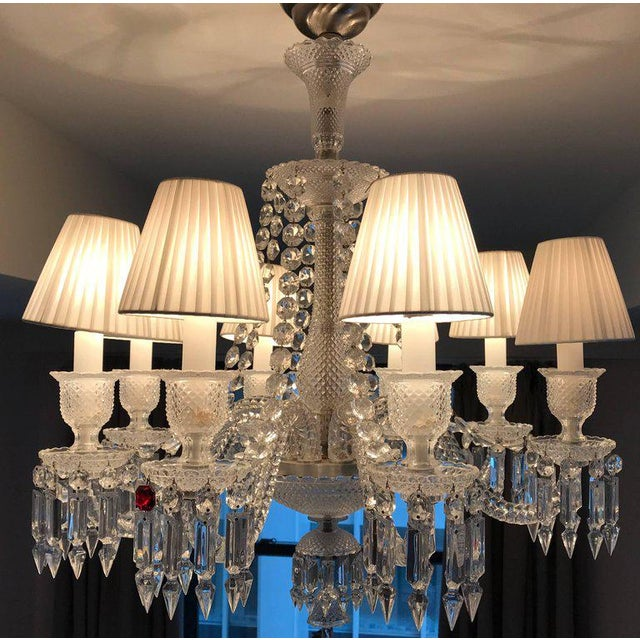 Stunning full-lead crystal Zenith chandelier by Baccarat. Measurements are from the crystal canopy.