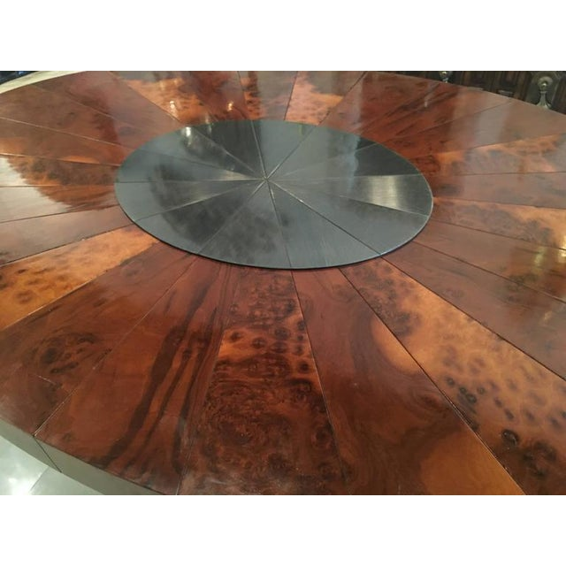 Paul Evans Burlwood Dining Table Brushed Metal For Sale In West Palm - Image 6 of 12