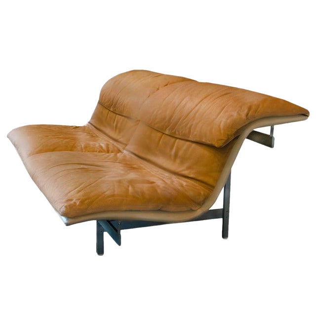 Giovanni Offredi 'Wave' Leather Sofa by Saporiti, Italy For Sale