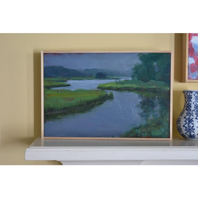 """""""Inlet With Fog"""" Contemporary Plein Air Painting by Stephen Remick For Sale In Providence - Image 6 of 8"""