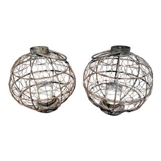 Late 19th Century Iron and Wire Sphere Lanterns - A Pair For Sale