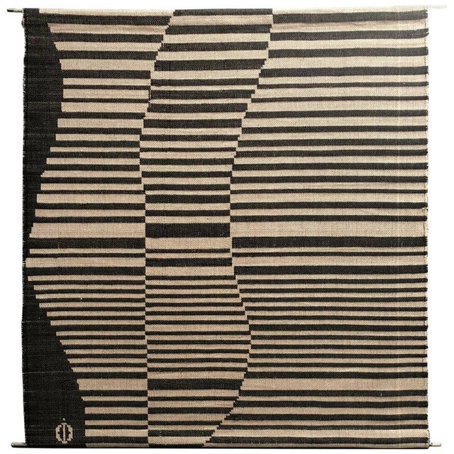Damask wall hanging by Swedish textile artist I. Damast. Art Hangs from two metal dowels woven within top and bottom....