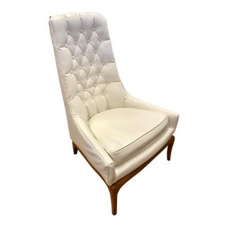 Midcentury Widdicomb Tufted Highback Robsjohn-Gibbings White Quilted Chair For Sale