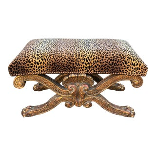 Large William Kent Bench by Charles Pollock for William Switzer - Clarence House Cheetah For Sale