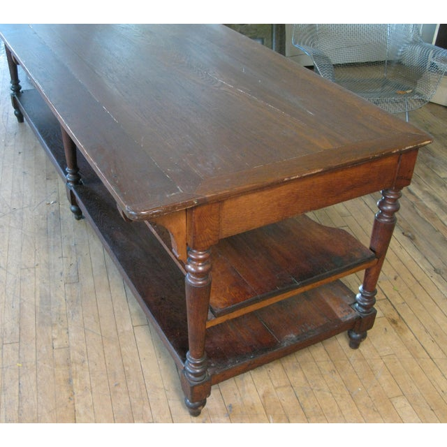 Antique 1940s Three Shelf Mercantile Table For Sale - Image 4 of 8