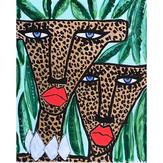 Experimental Cheetahs Original Acrylic Painting For Sale