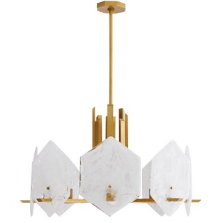 Arteriors Modern Brass and Glass Utopia Chandelier For Sale