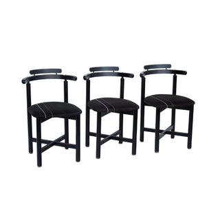 Set of 3 Danish Dining Chairs With Striped Seats Preview