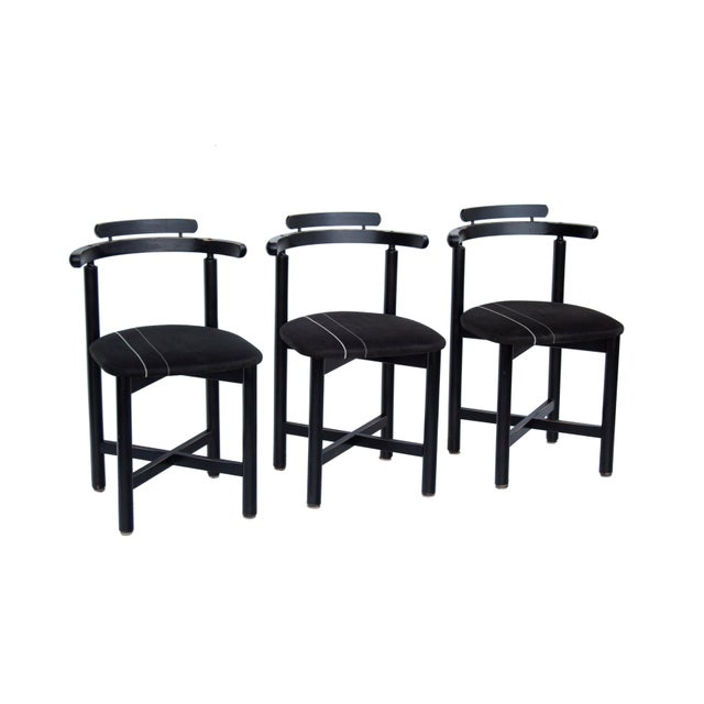 Set of 3 Danish dining chairs made in Denmark by Gangso Mobler. The black finish offers a nice graphic look and is...