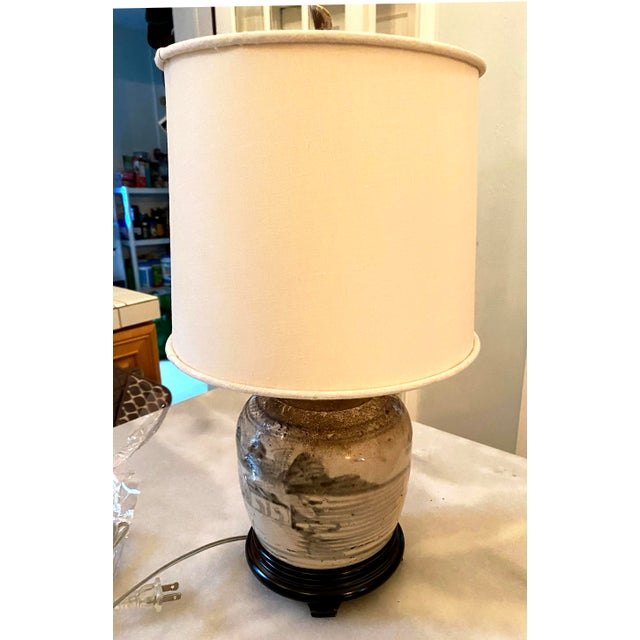 Hand Painted Glazed Chinese Ginger Jar table lamp with shade, now fashioned as a table lamp. This lamp features a stone...