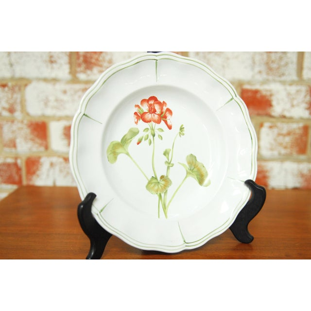 """French Set of 66 French Luneville Hand-Painted Floral Dining Plates """"Rovina Epinal"""" For Sale - Image 3 of 11"""
