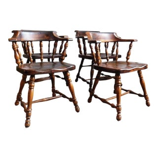 Rustic Captain's Chair Dining Set - 4 Pc. Set For Sale