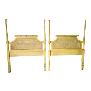 Hollywood Regency Faux-Bamboo/Caned Twin Size Headboards - a Pair