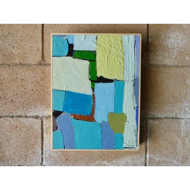 """""""Carrés et Couch de Couleur"""", an original small-scale contemporary abstract acrylic on panel painting by American artist..."""