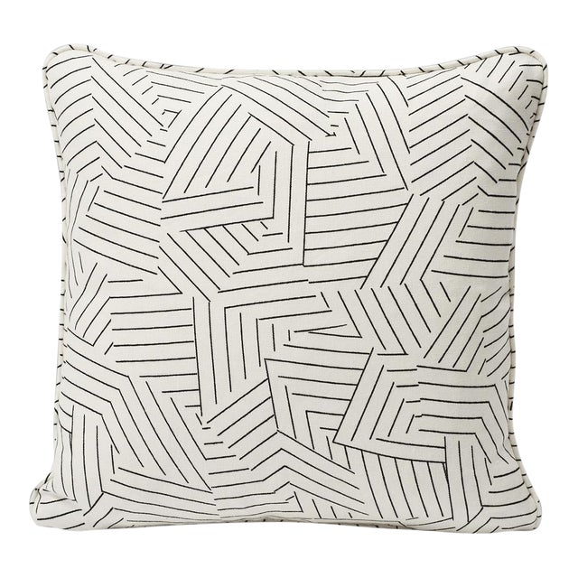 Schumacher Pillow in Deconstructed Stripe Double-Sided Print For Sale