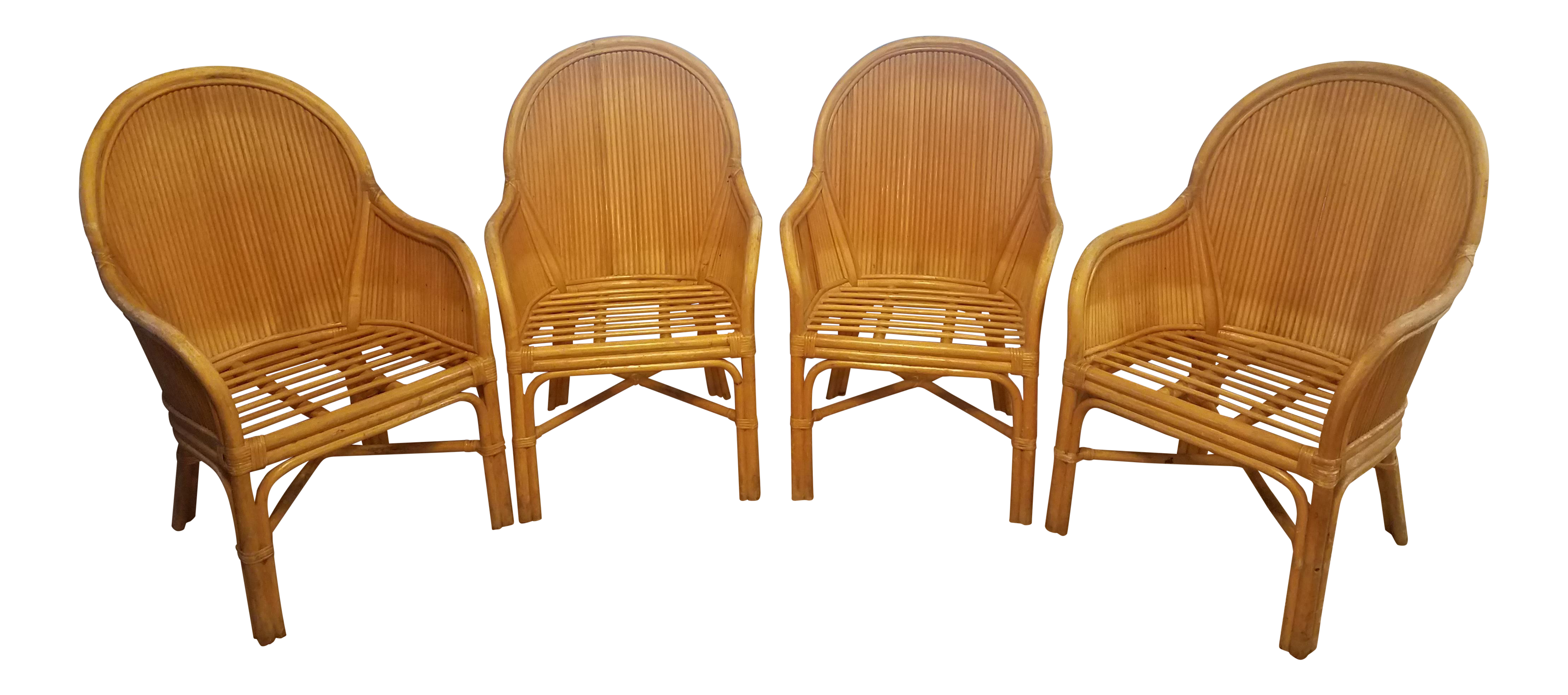 Palm Beach Pencil Reed Rattan Dining Chairs - Set of 4 - Image 1 of 10  sc 1 st  Chairish & Palm Beach Pencil Reed Rattan Dining Chairs - Set of 4 | Chairish