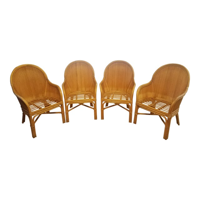 Palm Beach Pencil Reed Rattan Dining Chairs - Set of 4 For Sale