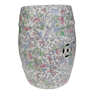 Chinese Porcelain Floral Decorated Garden Seat For Sale