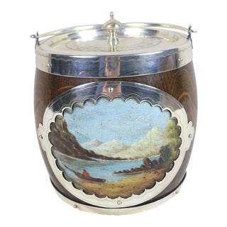 Late 19th Century English Sheffield Silver & Oak Biscuit Barrel W/ Painted Scenes For Sale