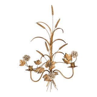 """Large 27"""" Italian Tole Gilt Wheat Floral Candle Wall Sconce For Sale"""