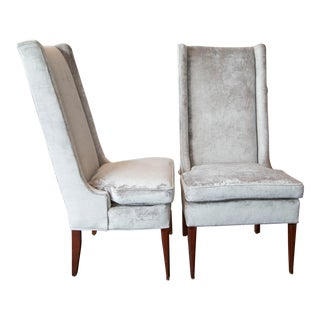 High Backed Wing Chairs in Grey Velvet For Sale