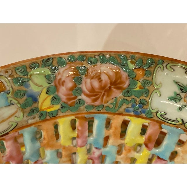 Rose Medallion Pierced Bowl and Under Plate For Sale - Image 9 of 13