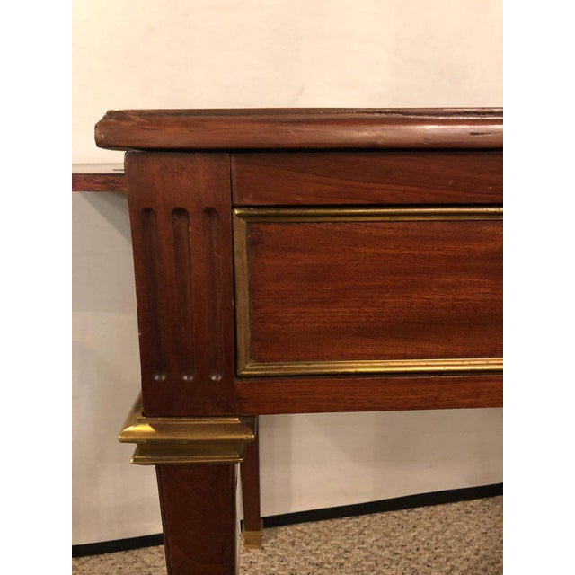 Dimenutive Leather Top Desk With Pull Out Sides And Bronze Mounts Stamped Jansen For Sale In New York - Image 6 of 11