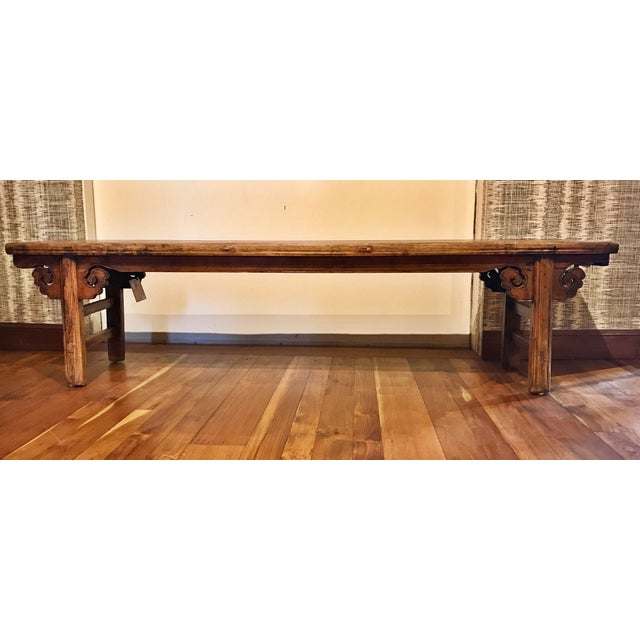 Chinese Antique Carved Wood Bench For Sale - Image 5 of 11