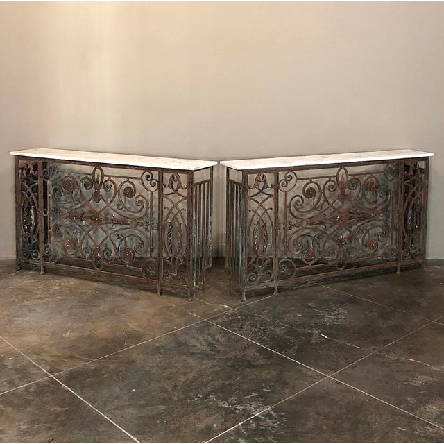 Pair 19th Century Wrought Iron Marble Top Consoles are a great find, allowing you to create symmetry in style in any room!...