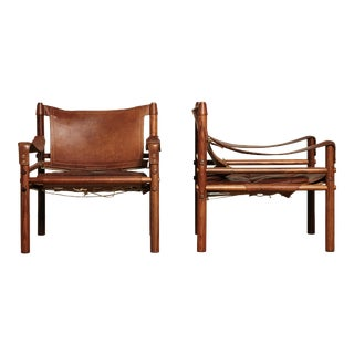 Stunning Pair of Arne Norell Safari Sirocco Chairs, Sweden, 1960s For Sale