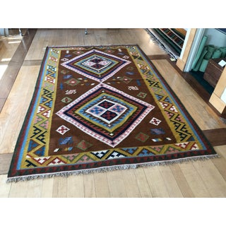 Mid Century Vintage Geometric Flat Weave Area Rug- 6′ × 9′ Preview