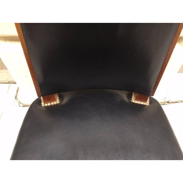 Metal Six Leather Dining Chairs For Sale - Image 7 of 8