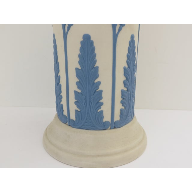 Traditional Ecanada White & Blue Art Pottery Vase For Sale - Image 3 of 7