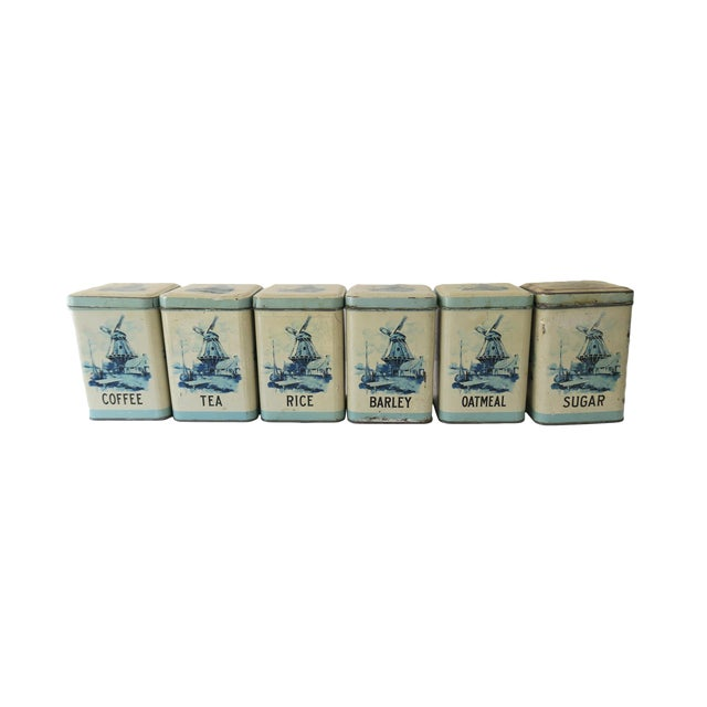 Antique Blue and White Dutch Tin Kitchen Canister Set of 6