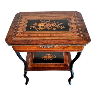 19th Century French Napoleon III Period Marquetry Travailleuse Work Table For Sale