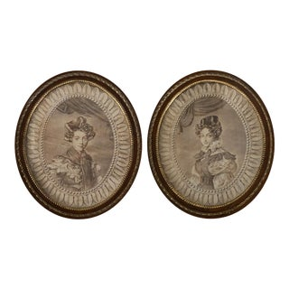Antique French Printed Portrait Textile Pictures Oval Frames - a Pair For Sale