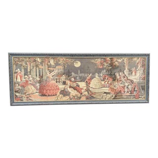 Framed 1920s Tapestry of a Victorian Masquerade Ball For Sale