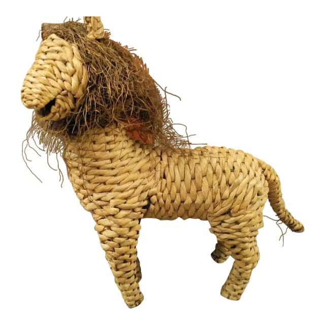 Vintage Mario Lopez Torres Style Raffia Wicker Whimsical Lion Figure Statue Decor For Sale