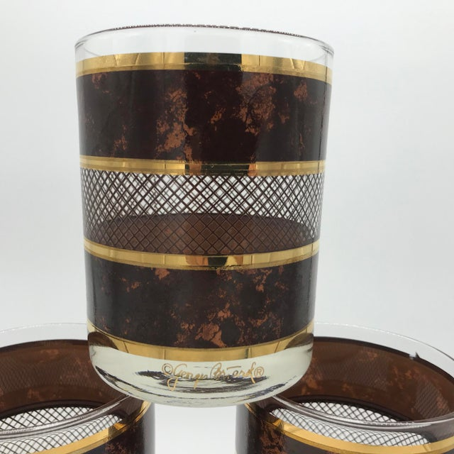 Hollywood Regency Vintage Georges Briard Old Fashioned Cocktail Glasses Set of 6 For Sale - Image 3 of 12