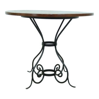 Charleston Forge Wrought Iron Bistro Table W. Wood Top For Sale