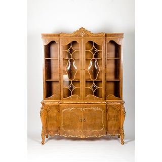 20th Century Two Parts Burlwood Hutch or China Cabinet Preview