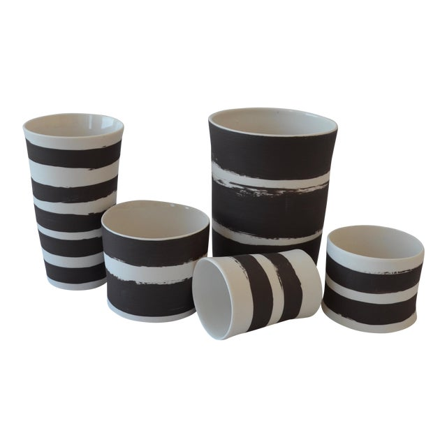 Contemporary Ceramic Striped Cylindrical Vessels - Set of 5 For Sale