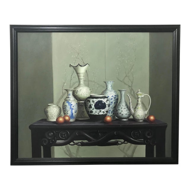 """Chinese Vases on the Altar Table"" - Vintage Framed Oil Painting on Canvas For Sale"