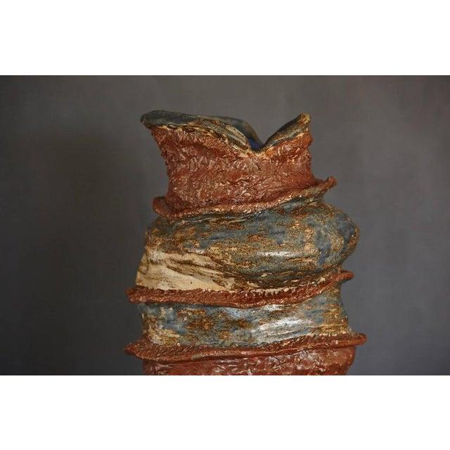 Large Artistic Freeform Fat Lava Style Ceramic Vase For Sale - Image 4 of 10