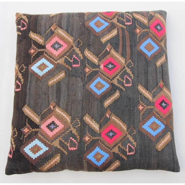 Vintage Turkish Tribal Kilim Rug Floor Pillow & Dog Bed 36'' x 36 - Image 7 of 7