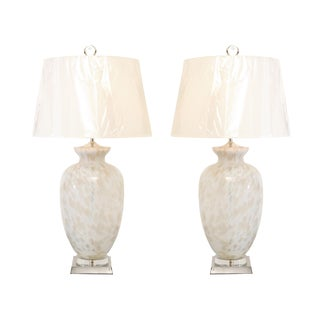Pair of Large-Scale Blown Murano Vessels as Custom Lamps For Sale