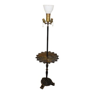 1930s Victorian Papier Mache Mother of Pearl Inlaid & Hand Painted Floor Lamp For Sale
