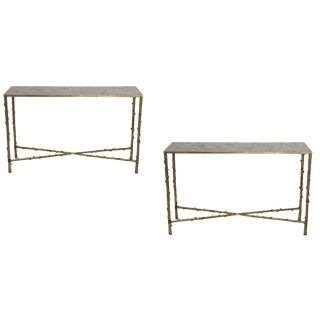 Contemporary Glostrup Entryway Metal Console Tables - a Pair