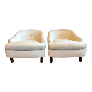 Vintage Ivory Barrel Back Club Chairs - Pair For Sale